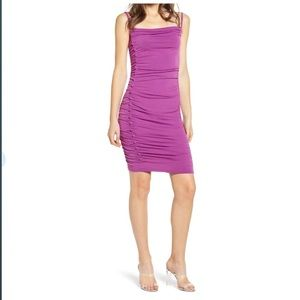 Ruched Side Button Body-con:  purple atrium